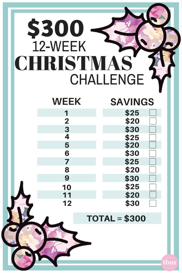 $300 12-week christmas savings challenge worksheet free image