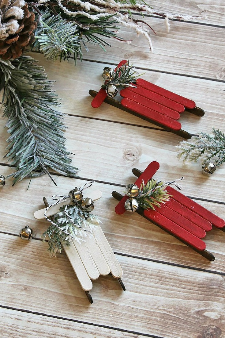 25 Affordable DIY Christmas Tree Decorations Popsicle Stick Sled Ornaments