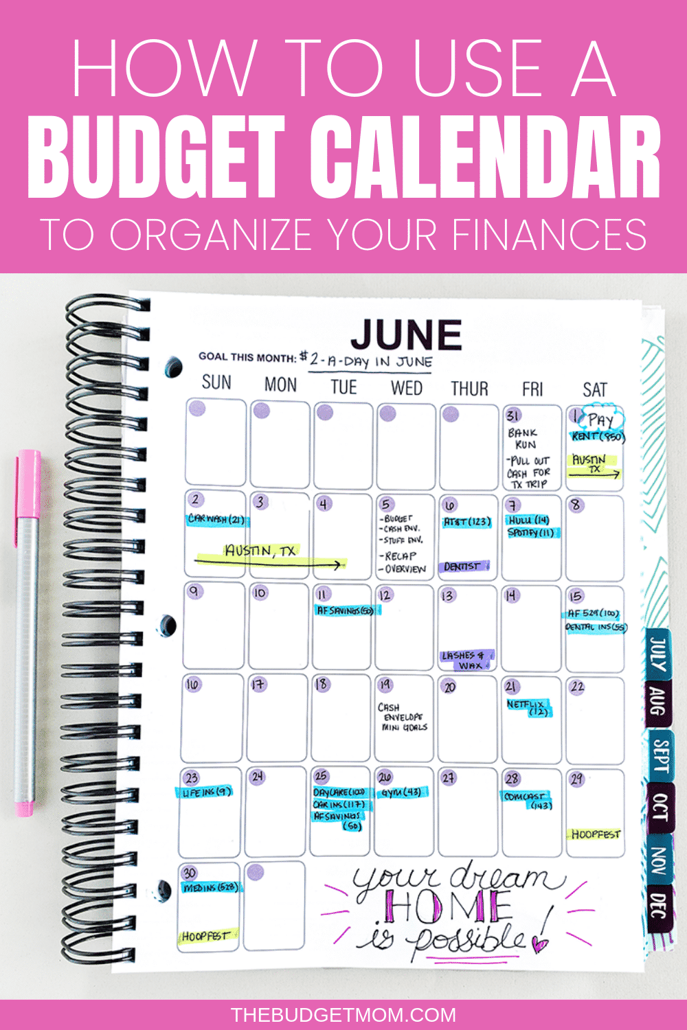 A Budget Calendar can help you create a realistic budget and organize your finances. When it comes to paying your bills and saving money, a budget calendar is a lifesaver, time saver, stress saver, and a money saver. #budgettips #budget #organizationtips #organize #calendar